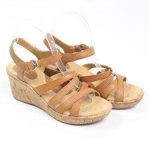 b.o.c. tan sandal ankle strap cork wedge open toe
